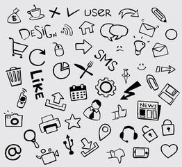 Set of social media sign. Hand drawn vector illustration.