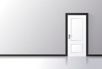 White door closed on a gray wall with reflective floor.