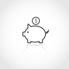 Piggy bank vector icon.