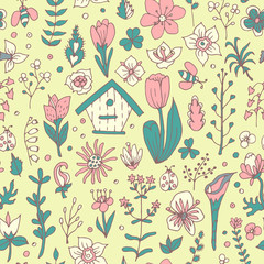 Floral spring seamless pattern