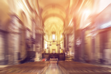 Interior of a baroque church. Radial zoom effect.