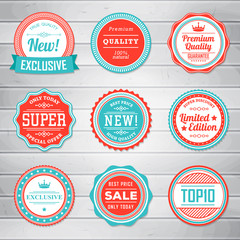 Set of vintage blue and red labels. Templates icons