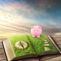 College education savings financial concept. Piggy bank book