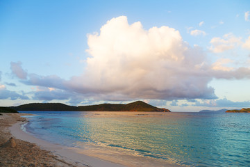 Wall Mural - Empty beach after sunset on St Thomas Island, US VI