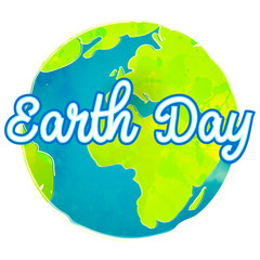 Earth day poster with paint texture. Hand drawn globe vector