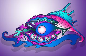 Vector illustration with underwater world