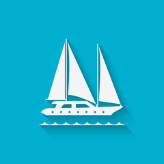 marine background with yacht