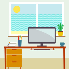 Home workplace flat vector illustration