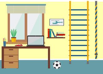 flat design vector illustration room boy