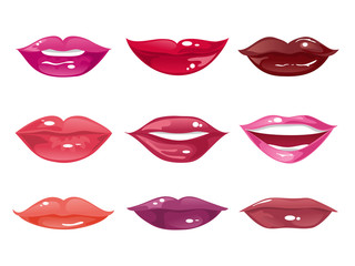 Set of female lips on a white background. Vector illustration