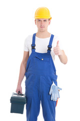 man in builder uniform and helmet with toolbox thumbs up isolate