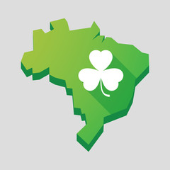 Green Brazil map with a clover