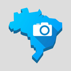 Blue Brazil map with a photo camera