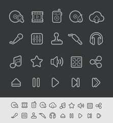Media Player Icons -- Black Line Series