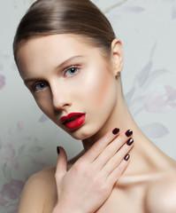 Fashion Beauty . Manicure and Make-up. Nail Art. Beautiful Woman