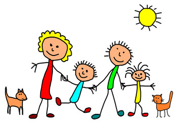 Kids drawing -  happy family