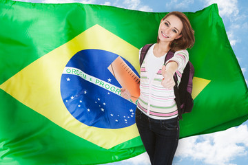 Brazilian Student Gesturing Thumb Up