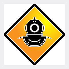 Old diving helmet icon or sign, vector