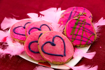 Valentines Day - cookies with pink frosting and hearts
