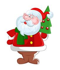 Scared Santa with Xmas Tree