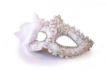 white glamor carnival mask isolated on white