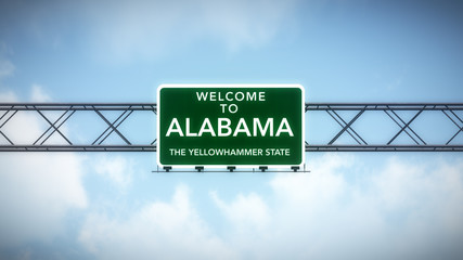 Alabama USA State Welcome to Highway Road Sign