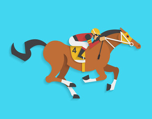 jockey riding race horse number 4, Vector illustration