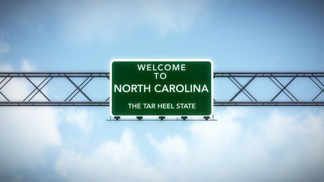 North Carolina USA State Welcome to Highway Road Sign