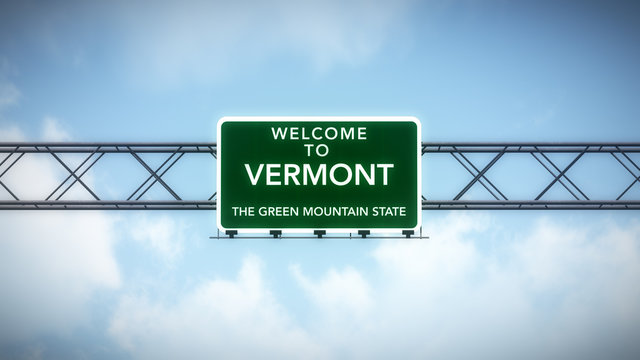 Vermont USA State Welcome to Highway Road Sign