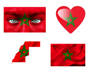 Set of various Morocco flags