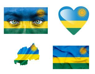 Set of various Rwanda flags