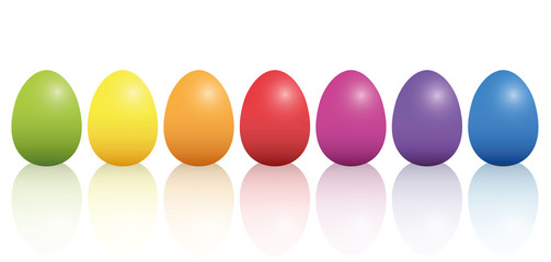 Easter Eggs Basic Colors Reflection