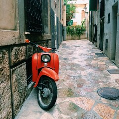 red moped, vintage style