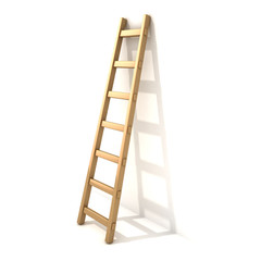 Wooden ladder, near white wall. 3D render illustration isolated