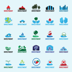 Investment Icons Set - Isolated On Blue Background