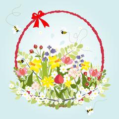Spring Floral Blossom Love Vintage Cartoon Bee Decoration
