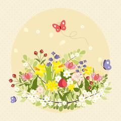 Spring Butterflies Flowers Art Colorful Vintage Vector