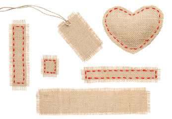 Sackcloth Heart Shape Patch Tag Label Object with Stitches Seam,