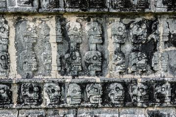 Mayan Sculpture at Chichen Itza, Traveling through Mexico.