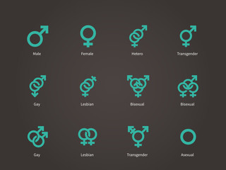 Male and Female sexual orientation icons.