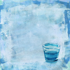 A glass of water on a distressed blue acrylic background