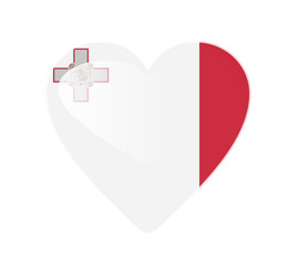 Malta 3D heart shaped flag