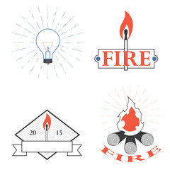 logos depicting fire and light