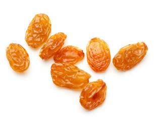 Fototapete - Yellow sultanas raisins isolated on white background cutout