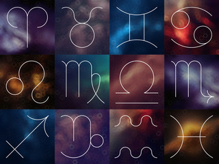 Zodiac signs. White thin line astrological symbols on blurry col