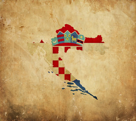 Vintage map of Croatia on grunge paper