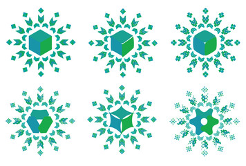 Collection of blue green mandala patterns