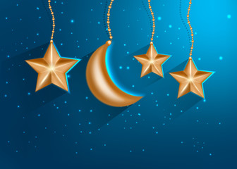 Cartoon gold stars in the night sky. Vector EPS10.
