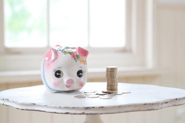 ブタ貯金箱と500円硬貨