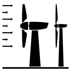vector wind power plant black pictograms